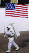 astronaut with U.S. flag