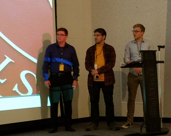 Chris, Sam, Zack presenting Rock SAT 2019