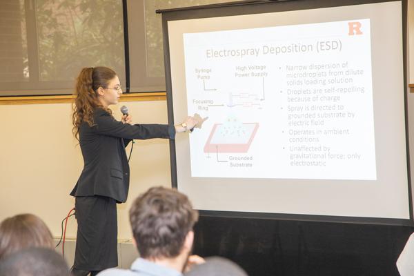 Rutgers student on Electorspray Deposition