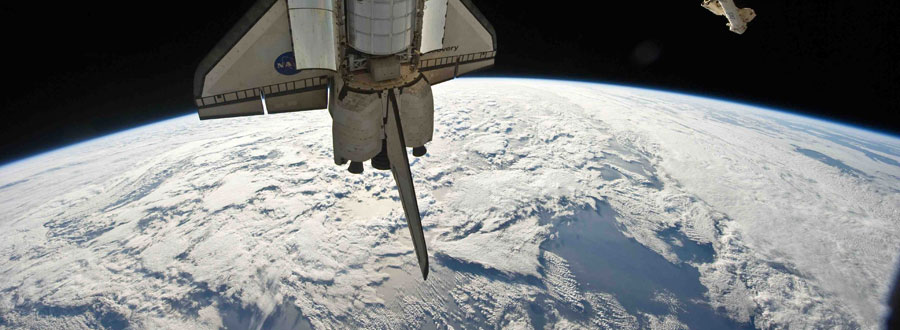 International Space Station moves away from the Space Shuttle Atlantis